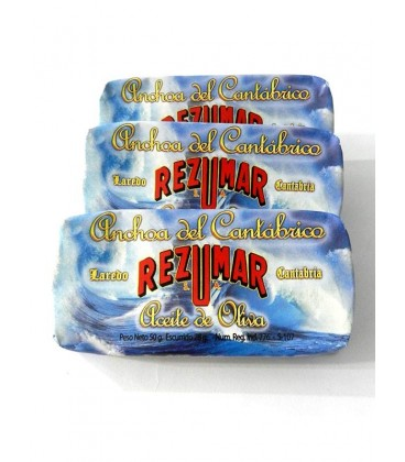 Anchoa del Cantábrico en aceite de oliva Rezumar (9-10 filetes) 50 g (Pack 3 latas)
