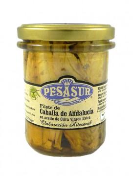 Filetes de caballa de Andalucía IGP en AOVE ecológico Pesasur 200 g