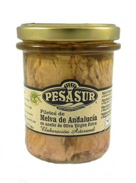 Filetes de melva de Andalucía IGP en AOVE ecológico Pesasur 200 g