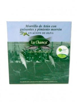 Morrillo de atún en aceite de oliva con guisantes y pimientos La Chanca 550 g