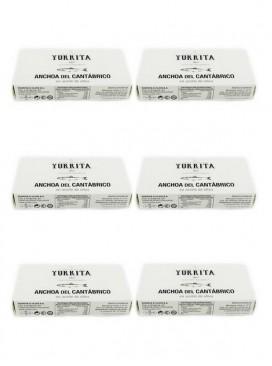Anchoa del Cantábrico en aceite de oliva Yurrita (10-12 ud) (Pack 6 latas)