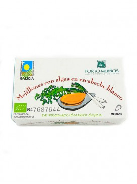 Mejillones con algas en escabeche blanco ecológico Porto Muiños 120 g