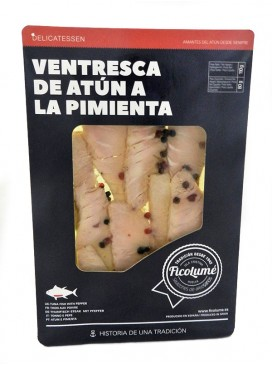 Ventresca de atún a la pimienta en aceite Ficolumé 110 g