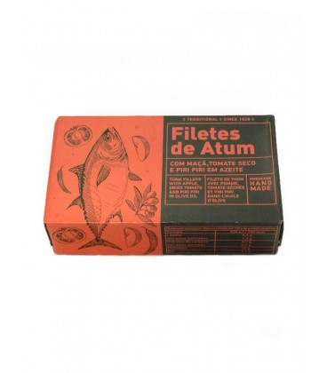 Filetes de atún con manzana, tomate seco y guindilla en aceite de oliva Aveiro 120 g
