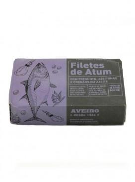 Filetes de atún con jamón, aceitunas y orégano en aceite de oliva Aveiro 120 g