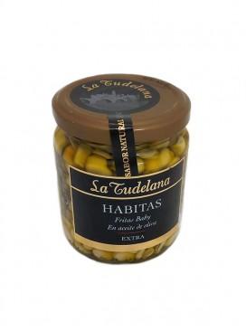Habitas fritas baby extra en aceite de oliva La Tudelana 150 g