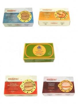 Lote conservas Herpac: Ventresca, mejillones, lomo de atún, melva canutera y caballa (120 g x 5)