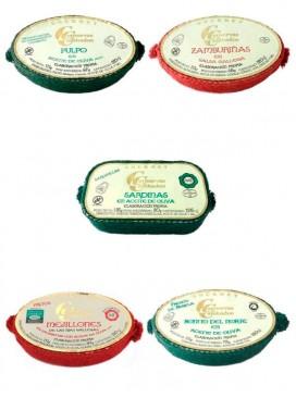 Lote conservas de Cambados: Pulpo, zamburiñas, sardinillas, mejillones y bonito (120 g x 5)