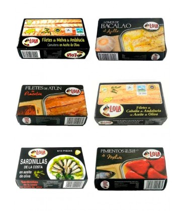 Lote conservas Lola: Melva canutera, bacalao, atún al pimentón, caballa, sardinillas y piquillos rellenos de melva (120 g x 6)