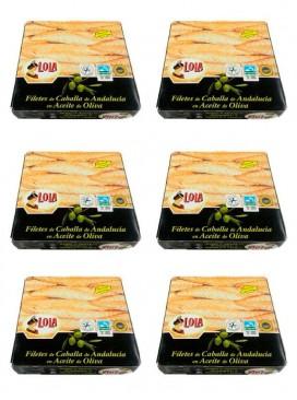 Filetes de caballa de Andalucía IGP en aceite de oliva Lola 280 g (Pack 6 latas)